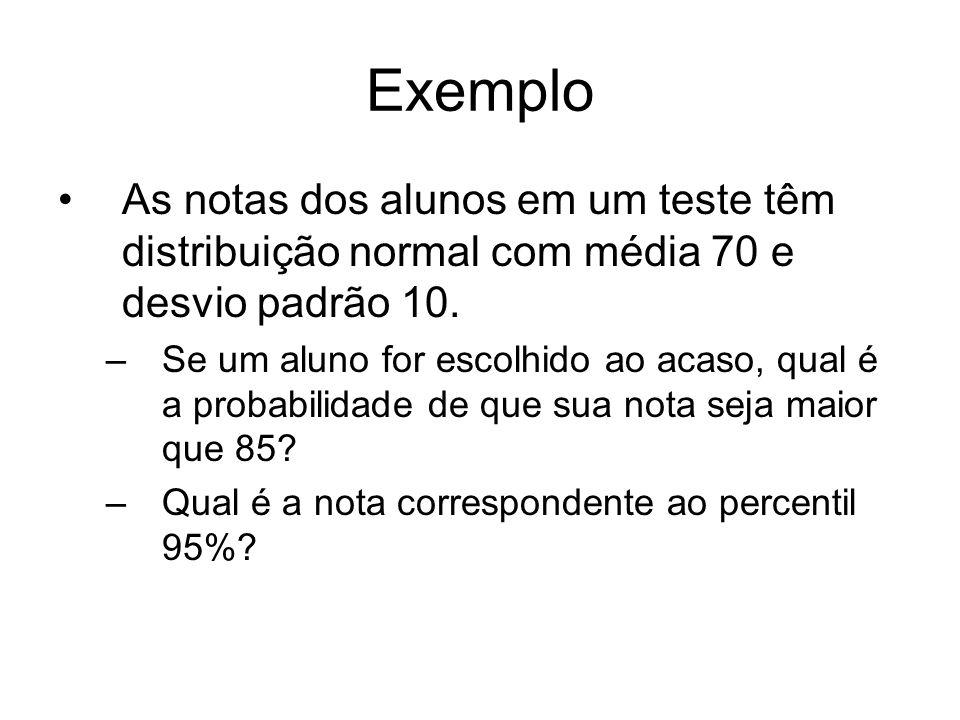 Exemplo As notas dos alunos em um teste têm distribuição normal com média 70 e desvio padrão 10. –Se um aluno for escolhido ao acaso, qual é a probabi