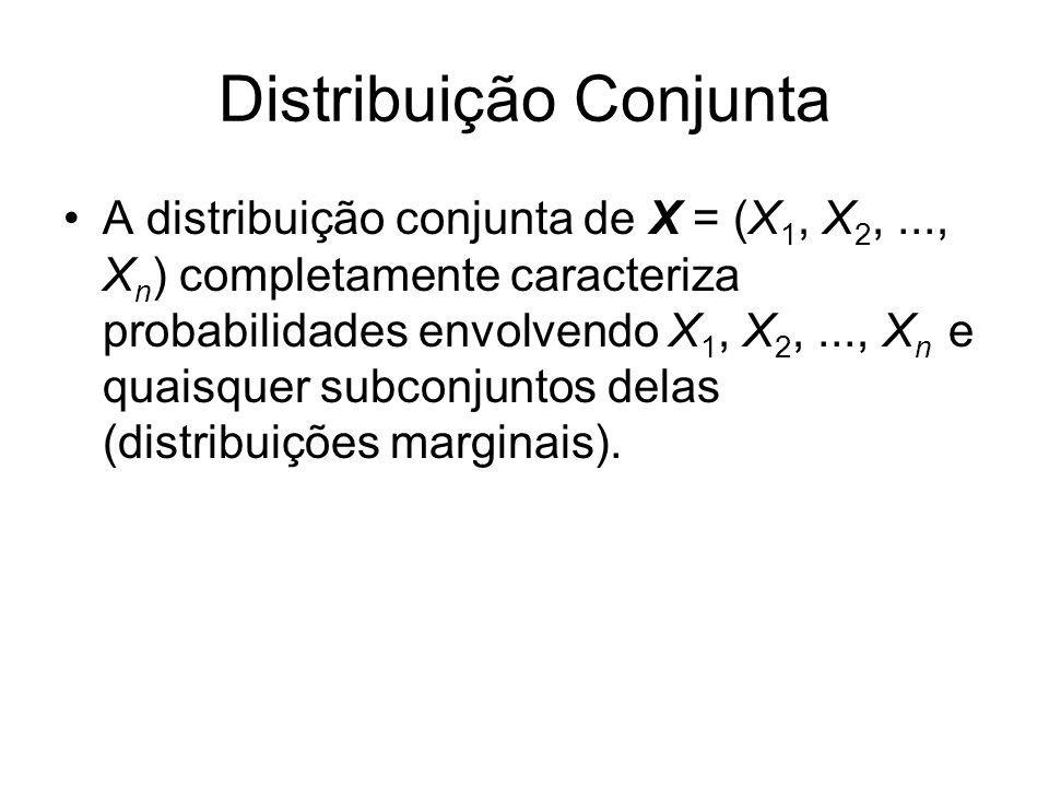 Distribuição Conjunta A distribuição conjunta de X = (X 1, X 2,..., X n ) completamente caracteriza probabilidades envolvendo X 1, X 2,..., X n e quai