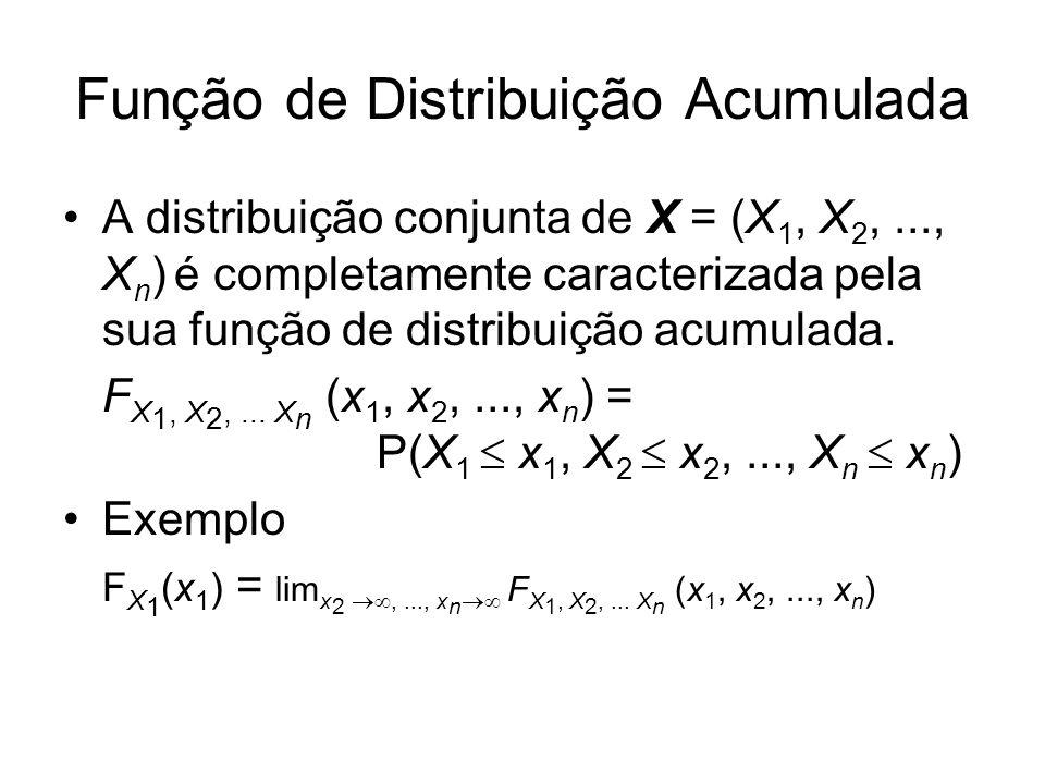 Função de Distribuição Acumulada A distribuição conjunta de X = (X 1, X 2,..., X n ) é completamente caracterizada pela sua função de distribuição acu