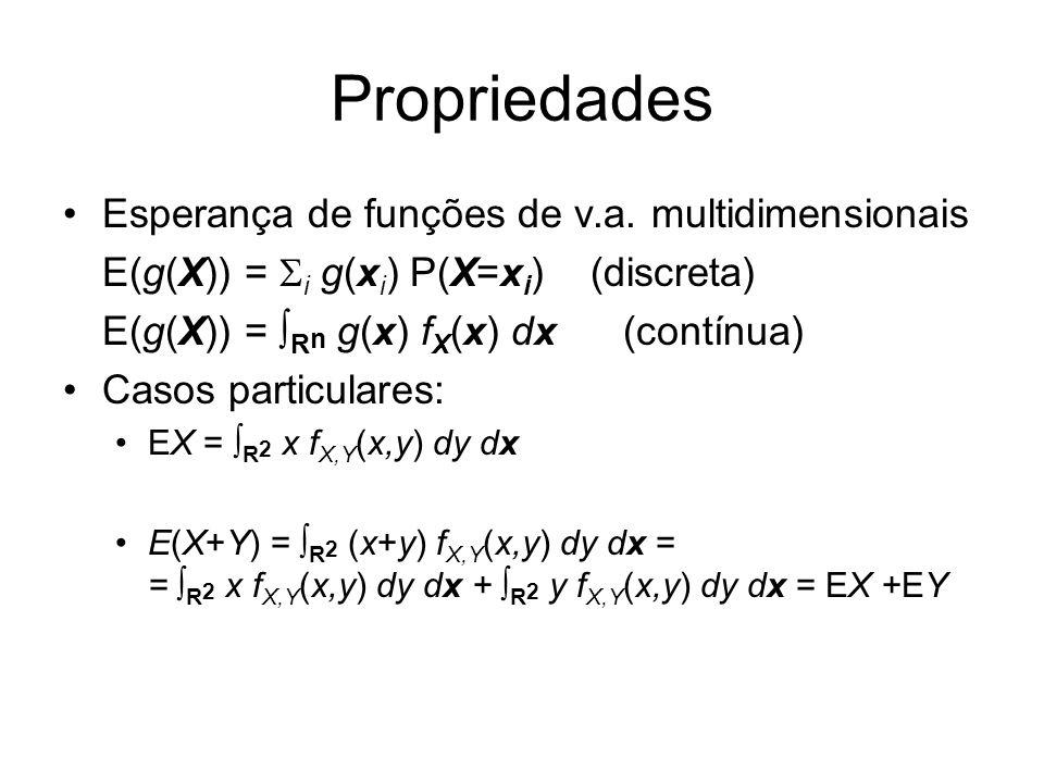 Propriedades Esperança de funções de v.a. multidimensionais E(g(X)) = i g(x i ) P(X=x i ) (discreta) E(g(X)) = R n g(x) f X (x) dx (contínua) Casos pa