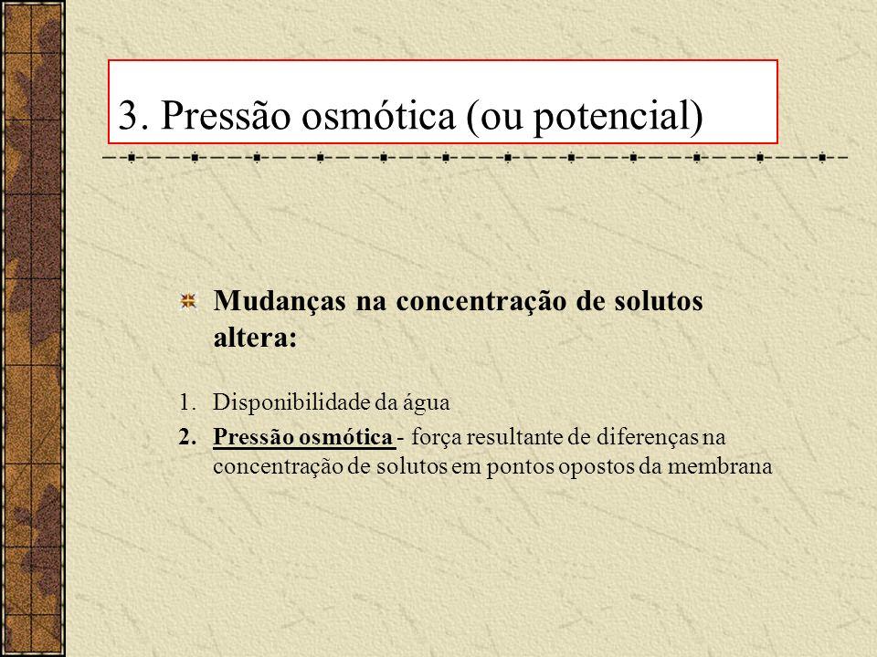 3. Pressão osmótica (ou potencial) Mudanças na concentração de solutos altera: 1.Disponibilidade da água 2.Pressão osmótica - força resultante de dife