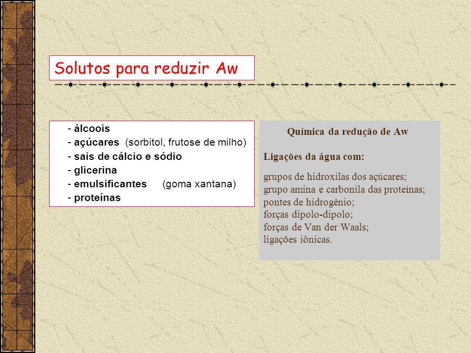 Preservação dos alimentos Aumentar solutos hidrofílicos Diminuir o conteúdo de umidade (desidratação) Congelamento Água sob a forma de gelo, portanto indisponível para reações de degradação geléiaspresunto AW