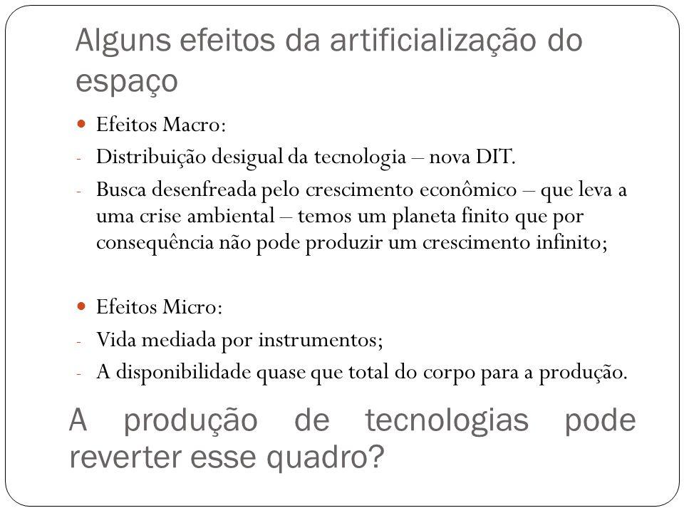 Alguns efeitos da artificialização do espaço Efeitos Macro: - Distribuição desigual da tecnologia – nova DIT. - Busca desenfreada pelo crescimento eco