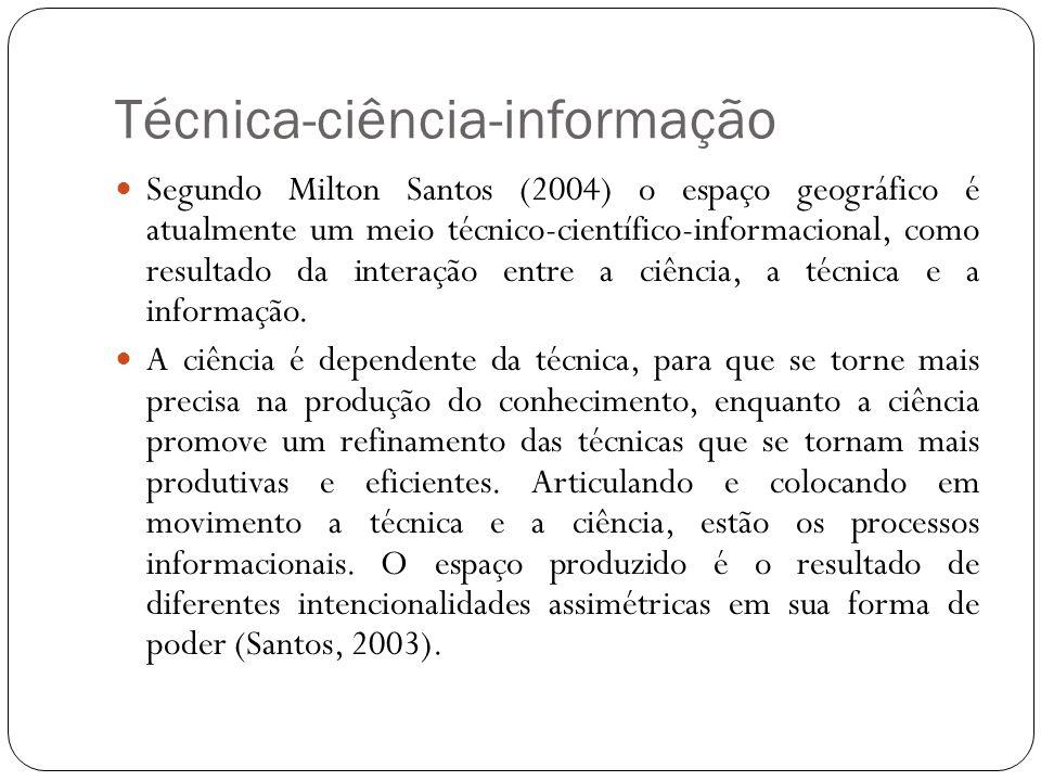Técnica-ciência-informação Segundo Milton Santos (2004) o espaço geográfico é atualmente um meio técnico-científico-informacional, como resultado da i