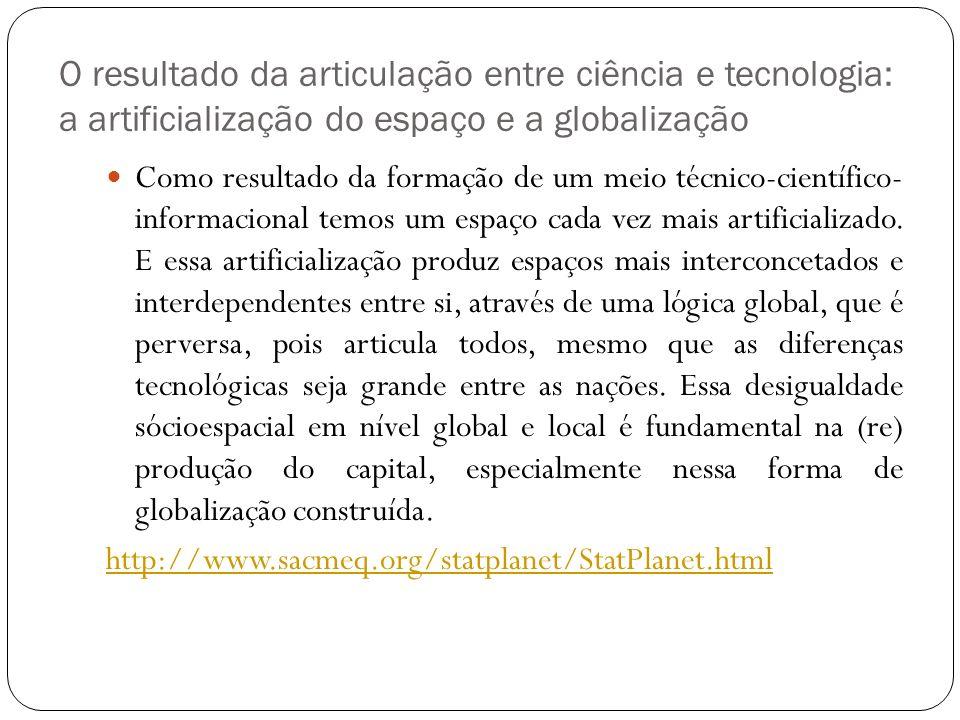 O resultado da articulação entre ciência e tecnologia: a artificialização do espaço e a globalização Como resultado da formação de um meio técnico-cie
