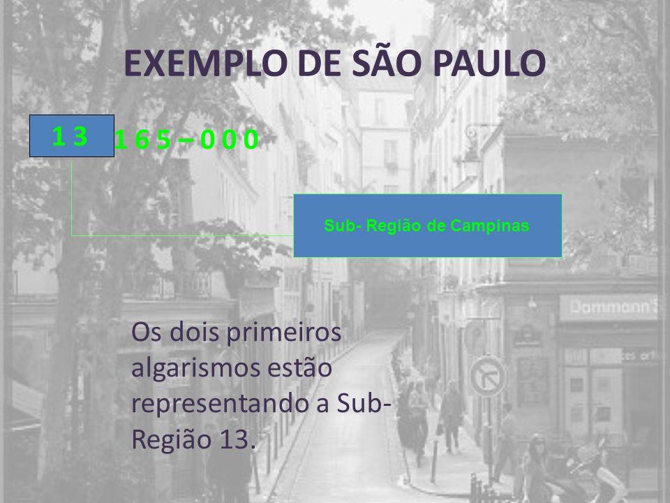 EXEMPLO DE SÃO PAULO 1 6 5 – 0 0 0 1 3 Sub- Região de Campinas Os dois primeiros algarismos estão representando a Sub- Região 13.