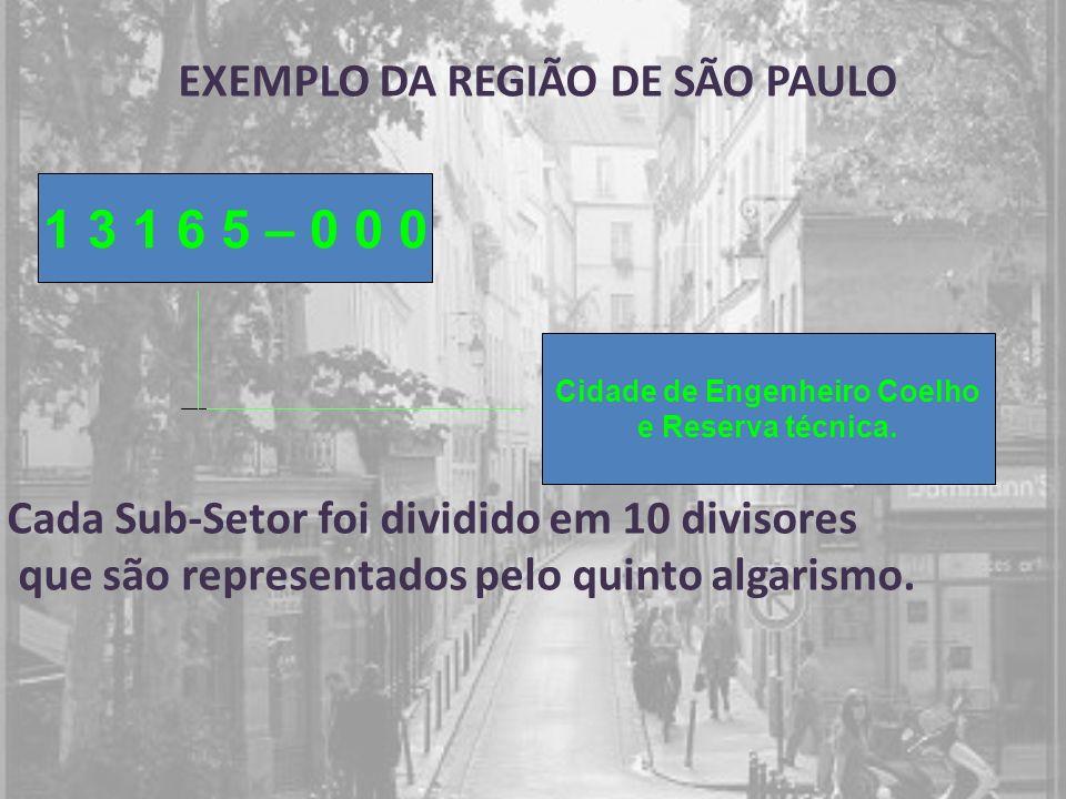 EXEMPLO DA REGIÃO DE SÃO PAULO 1 3 1 6 5 – 0 0 0 Cidade de Engenheiro Coelho e Reserva técnica. Cada Sub-Setor foi dividido em 10 divisores que são re