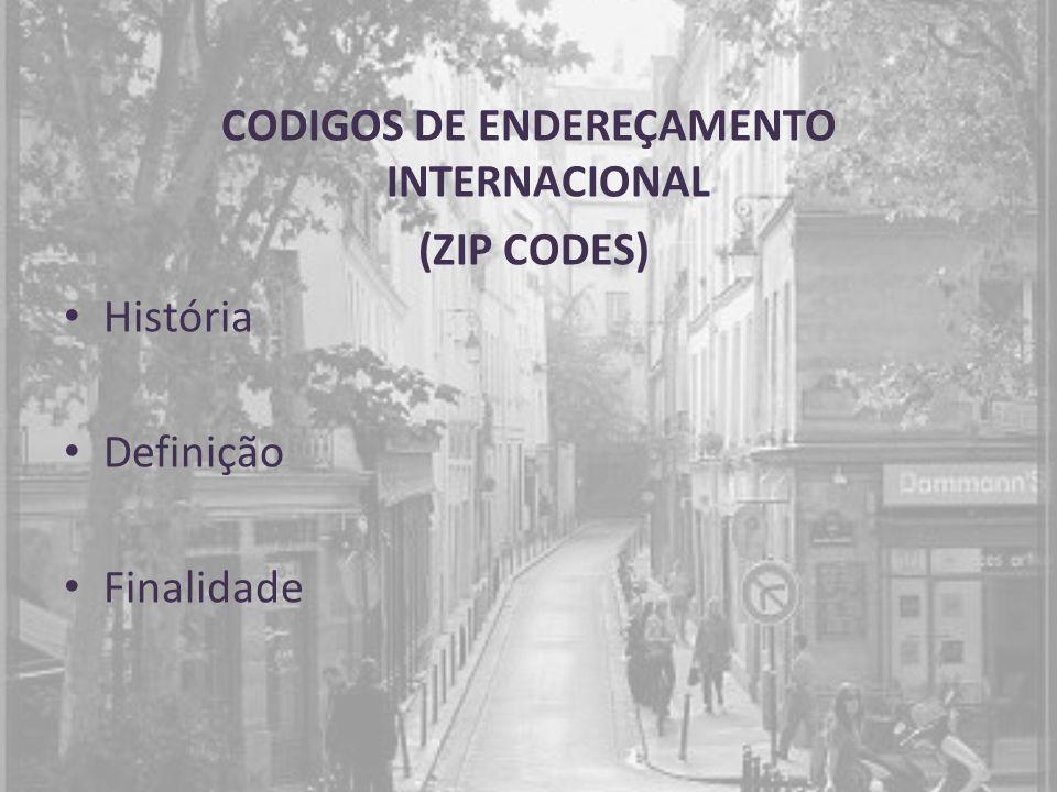 CODIGOS DE ENDEREÇAMENTO INTERNACIONAL (ZIP CODES) História Definição Finalidade