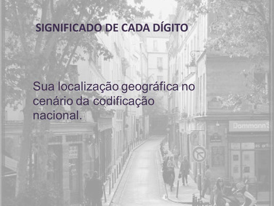 SIGNIFICADO DE CADA DÍGITO Sua localização geográfica no cenário da codificação nacional.
