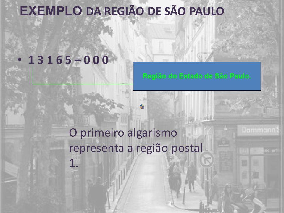 1 3 1 6 5 – 0 0 0 Região do Estado de São Paulo. O primeiro algarismo representa a região postal 1. EXEMPLO DA REGIÃO DE SÃO PAULO