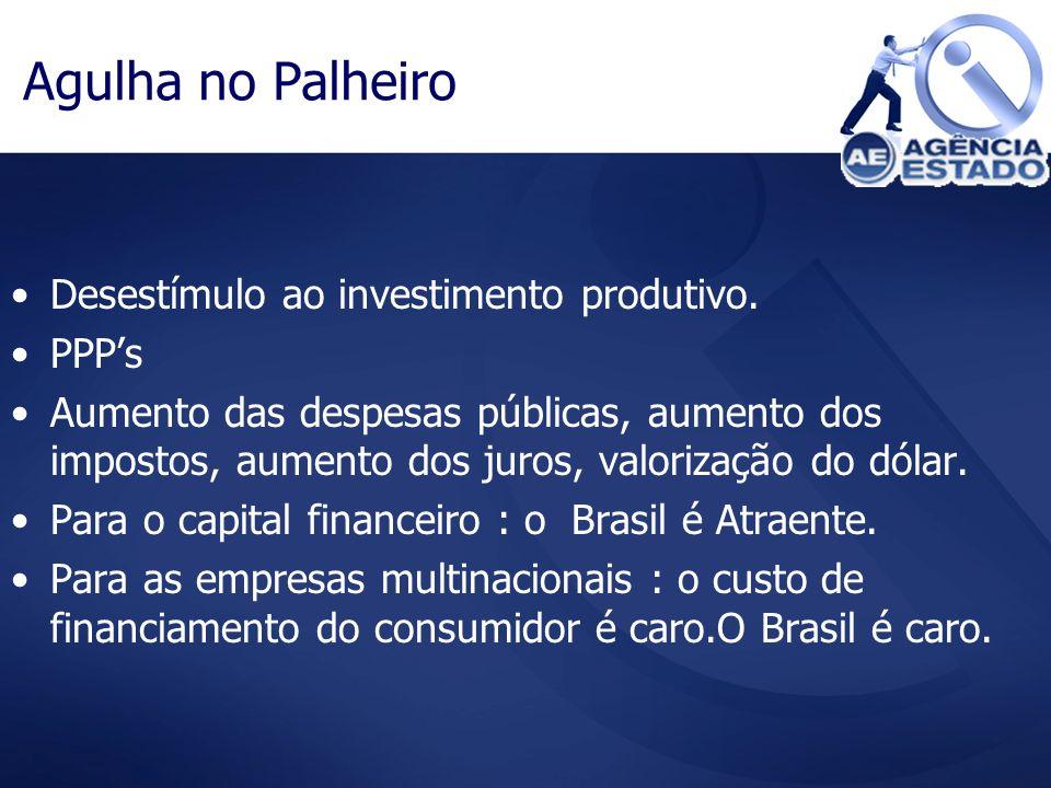 Agulha no Palheiro Desestímulo ao investimento produtivo. PPPs Aumento das despesas públicas, aumento dos impostos, aumento dos juros, valorização do