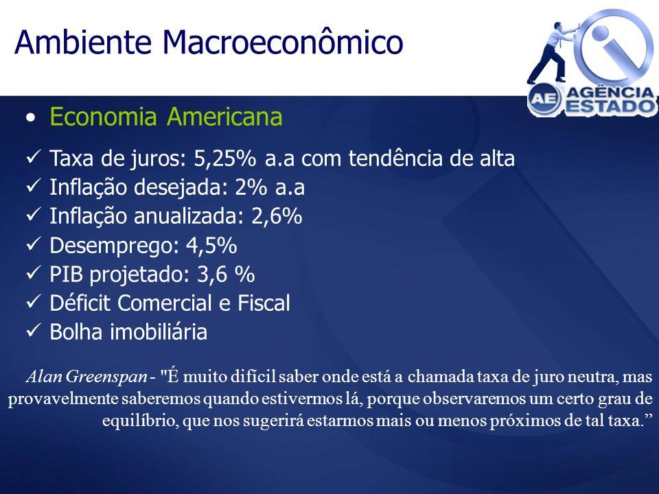 Economia Americana Ambiente Macroeconômico Taxa de juros: 5,25% a.a com tendência de alta Inflação desejada: 2% a.a Inflação anualizada: 2,6% Desempre