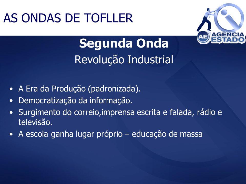 Segunda Onda Revolução Industrial A Era da Produção (padronizada). Democratização da informação. Surgimento do correio,imprensa escrita e falada, rádi