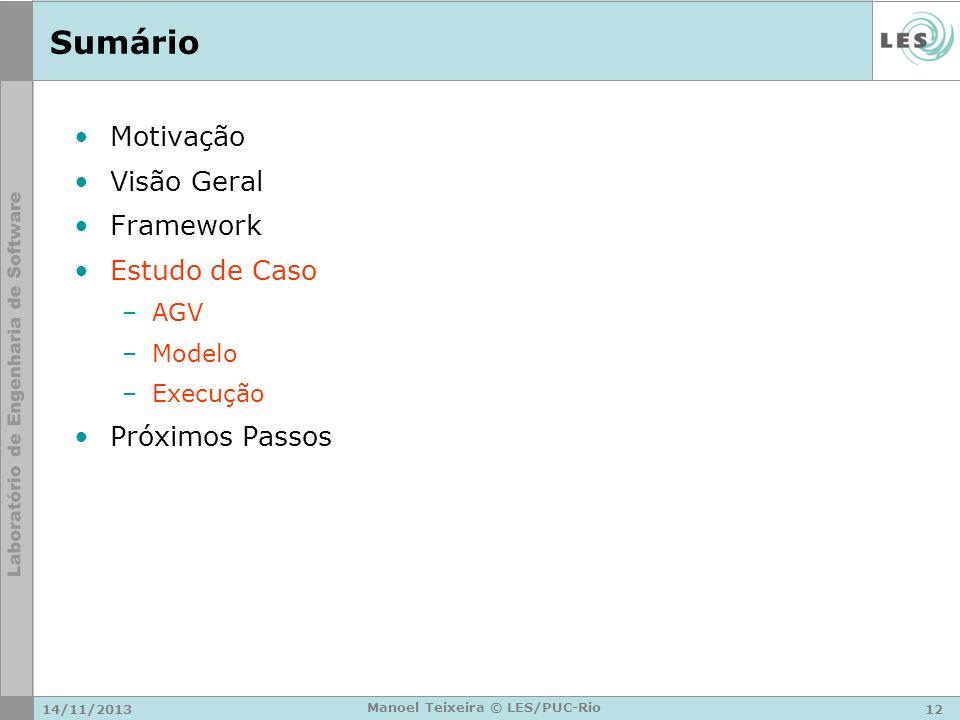 14/11/201312 Manoel Teixeira © LES/PUC-Rio Sumário Motivação Visão Geral Framework Estudo de Caso –AGV –Modelo –Execução Próximos Passos