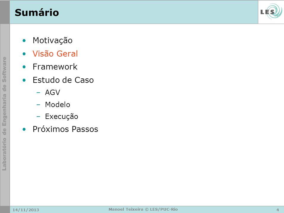 14/11/20134 Manoel Teixeira © LES/PUC-Rio Sumário Motivação Visão Geral Framework Estudo de Caso –AGV –Modelo –Execução Próximos Passos