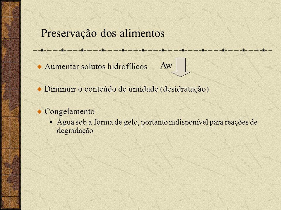 Preservação dos alimentos Aumentar solutos hidrofílicos Diminuir o conteúdo de umidade (desidratação) Congelamento Água sob a forma de gelo, portanto