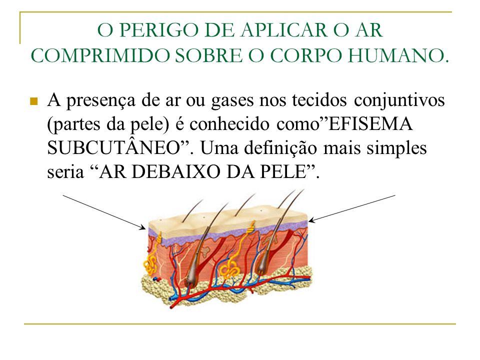 O PERIGO DE APLICAR O AR COMPRIMIDO SOBRE O CORPO HUMANO Devido o perigo que representa, o ar comprimido não deve ser aplicado sobre o corpo, usado para a limpeza de roupa de trabalho ou para tirar pó ou sujeira do cabelo, afinal um jato de ar comprimido pode: Romper um Tímpano, Causar hemorragia interna ao penetrar pelos poros da pele, Descolar a retina dos olhos, Causar infecções na pele, Inflamações nos tecidos conjuntivos por causa das impurezas presentes no ar comprimido.