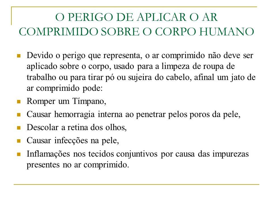 O PERIGO DE APLICAR O AR COMPRIMIDO SOBRE O CORPO HUMANO Devido o perigo que representa, o ar comprimido não deve ser aplicado sobre o corpo, usado pa