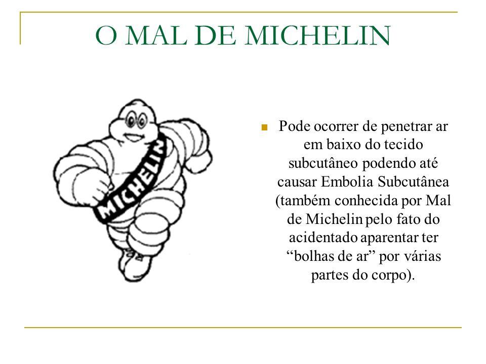 O MAL DE MICHELIN Pode ocorrer de penetrar ar em baixo do tecido subcutâneo podendo até causar Embolia Subcutânea (também conhecida por Mal de Micheli