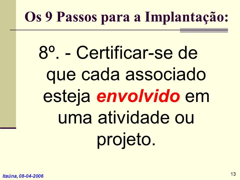 Itaúna, 08-04-2006 8º. - Certificar-se de que cada associado esteja envolvido em uma atividade ou projeto. Os 9 Passos para a Implantação: 13