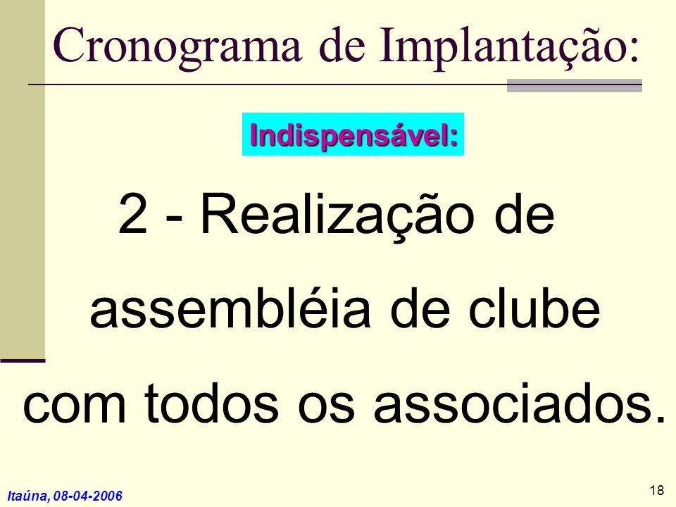 Itaúna, 08-04-2006 3 - O clube concorda em adotar o novo regimento interno recomendado para o Rotary Club até 1º de julho; 4 - Desenvolve-se o plano de longo prazo; e, Cronograma de Implantação: 19