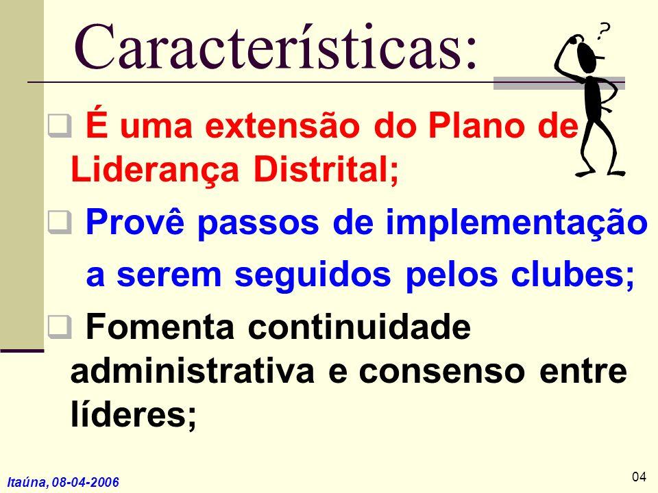 Itaúna, 08-04-2006 Características: É uma extensão do Plano de Liderança Distrital; Provê passos de implementação a serem seguidos pelos clubes; Fomen