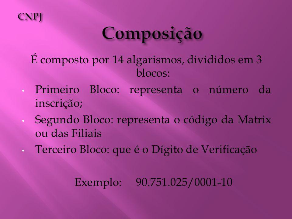É composto por 14 algarismos, divididos em 3 blocos: Primeiro Bloco: representa o número da inscrição; Segundo Bloco: representa o código da Matrix ou