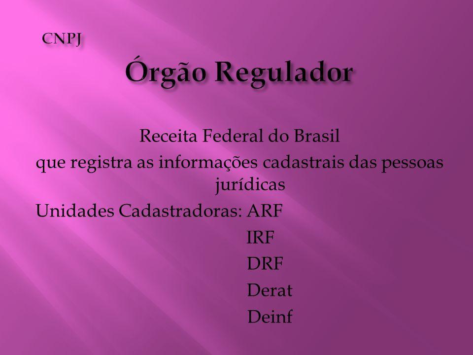 Receita Federal do Brasil que registra as informações cadastrais das pessoas jurídicas Unidades Cadastradoras: ARF IRF DRF Derat Deinf
