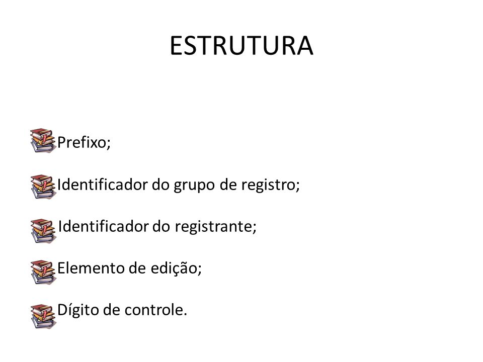 ESTRUTURA Prefixo; Identificador do grupo de registro; II Identificador do registrante; Elemento de edição; Dígito de controle.