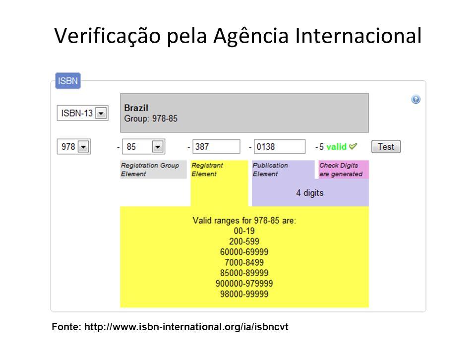 Verificação pela Agência Internacional Fonte: http://www.isbn-international.org/ia/isbncvt
