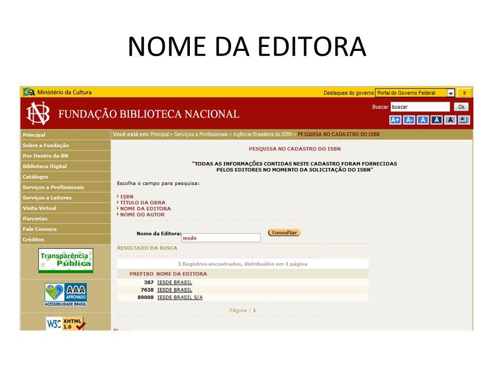 NOME DA EDITORA