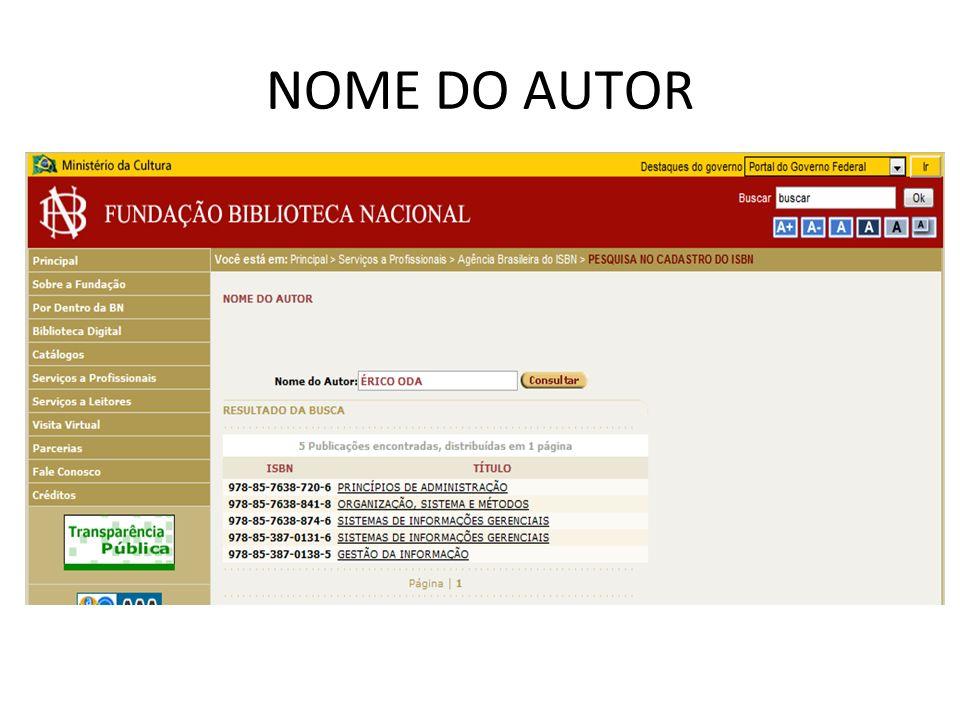 NOME DO AUTOR