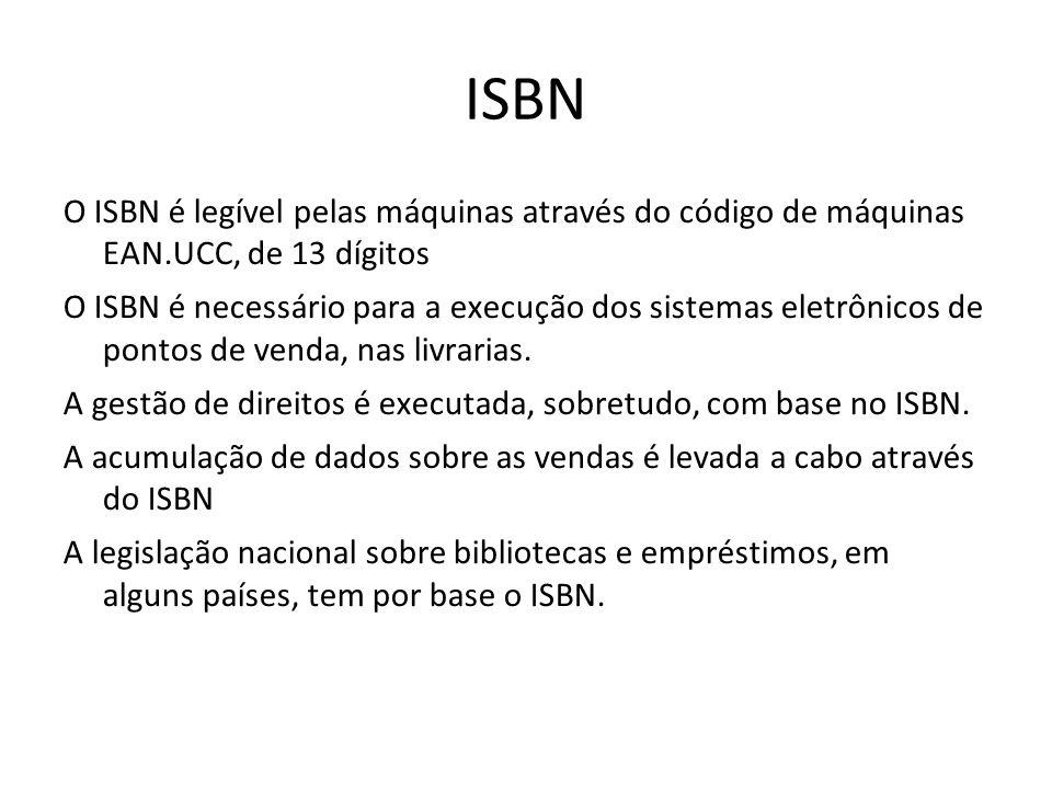ISBN O ISBN é legível pelas máquinas através do código de máquinas EAN.UCC, de 13 dígitos O ISBN é necessário para a execução dos sistemas eletrônicos