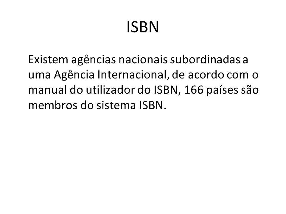 ISBN Existem agências nacionais subordinadas a uma Agência Internacional, de acordo com o manual do utilizador do ISBN, 166 países são membros do sist