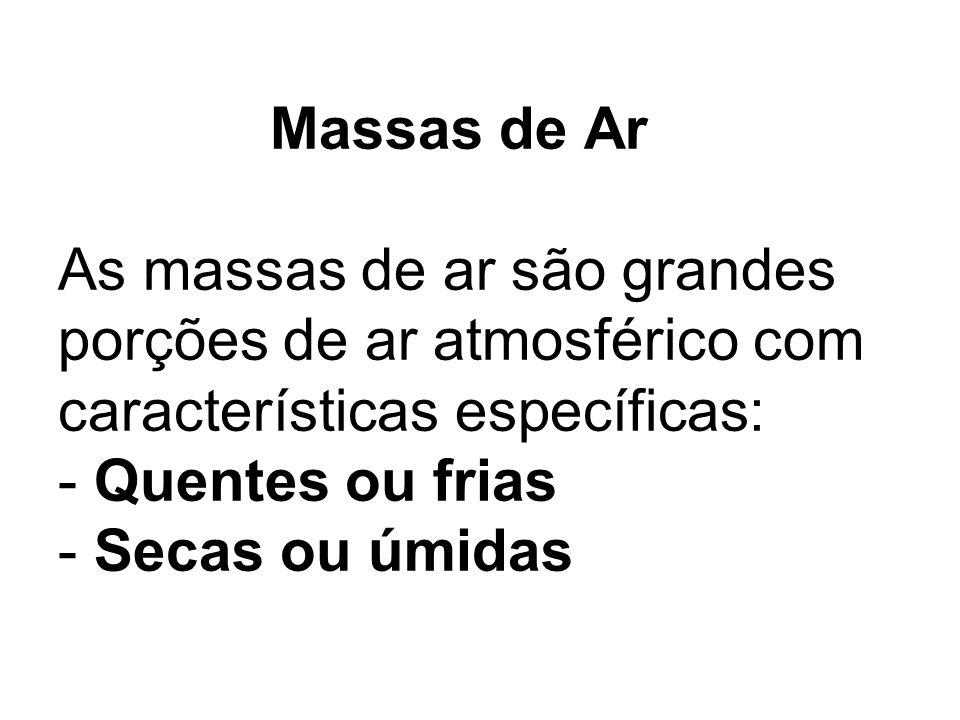 Massas de Ar As massas de ar são grandes porções de ar atmosférico com características específicas: - Quentes ou frias - Secas ou úmidas