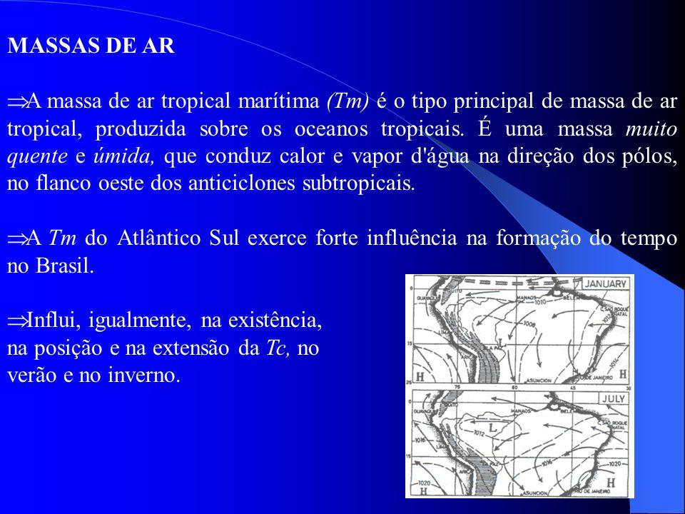 MASSAS DE AR A massa de ar tropical marítima (Tm) é o tipo principal de massa de ar tropical, produzida sobre os oceanos tropicais. É uma massa muito