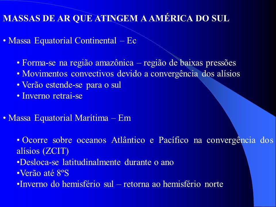 MASSAS DE AR QUE ATINGEM A AMÉRICA DO SUL Massa Equatorial Continental – Ec Forma-se na região amazônica – região de baixas pressões Movimentos convec