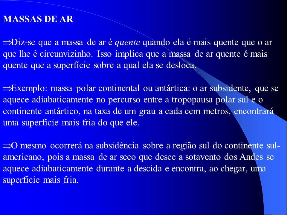 MASSAS DE AR Diz-se que a massa de ar é quente quando ela é mais quente que o ar que lhe é circunvizinho. Isso implica que a massa de ar quente é mais