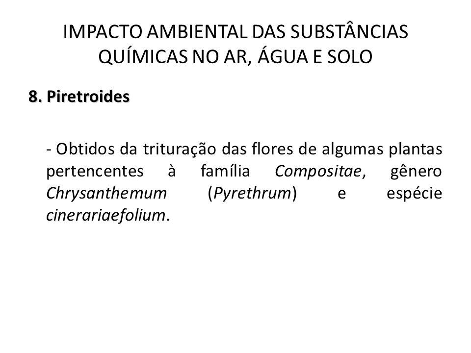 8. Piretroides - Obtidos da trituração das flores de algumas plantas pertencentes à família Compositae, gênero Chrysanthemum (Pyrethrum) e espécie cin