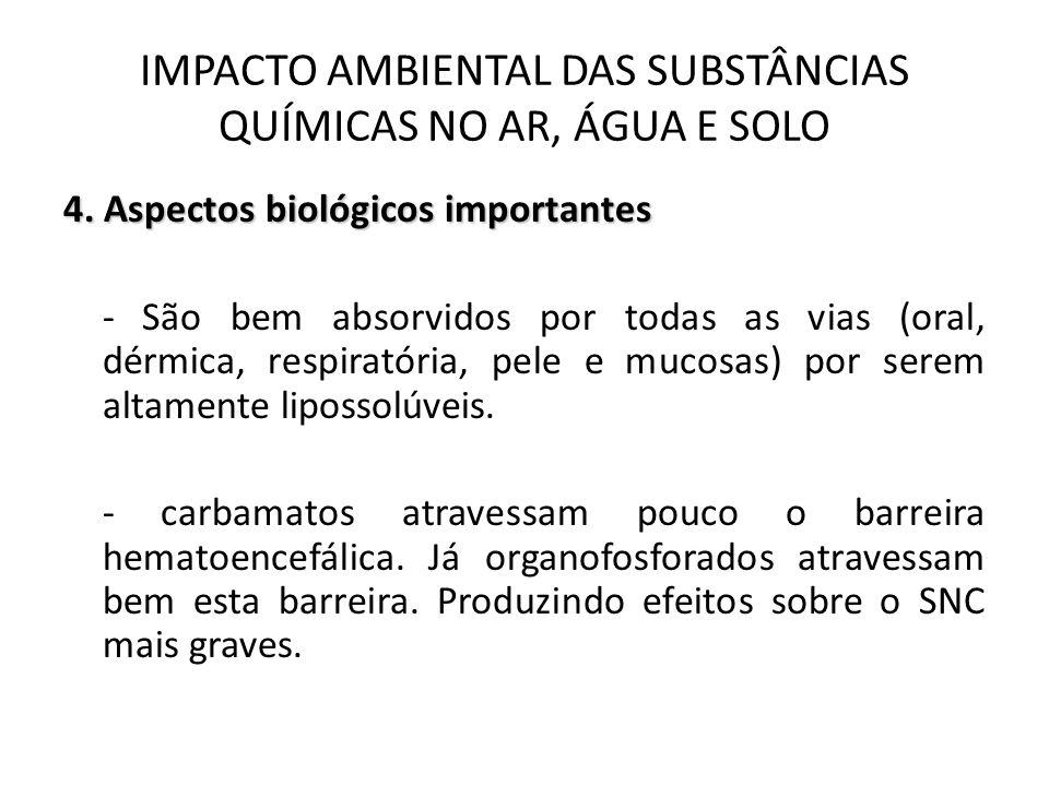 4.Aspectos biológicos importantes - Os carbamatos inativam a acetilcolinesterase temporariamente.