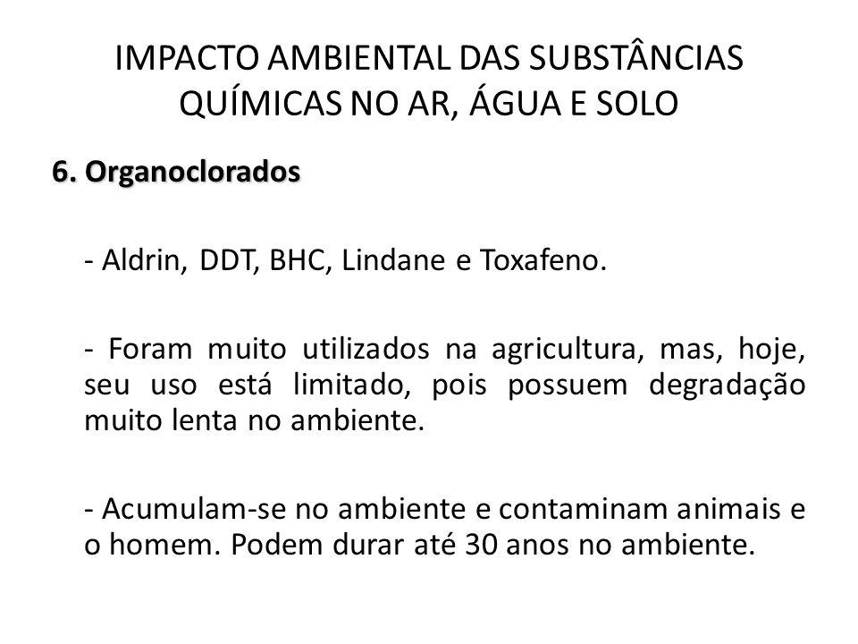 6. Organoclorados - Aldrin, DDT, BHC, Lindane e Toxafeno. - Foram muito utilizados na agricultura, mas, hoje, seu uso está limitado, pois possuem degr