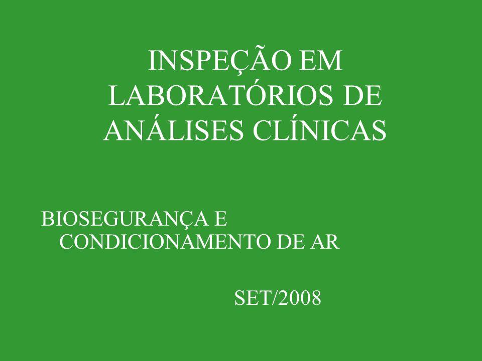 INSPEÇÃO EM LABORATÓRIOS DE ANÁLISES CLÍNICAS BIOSEGURANÇA E CONDICIONAMENTO DE AR SET/2008