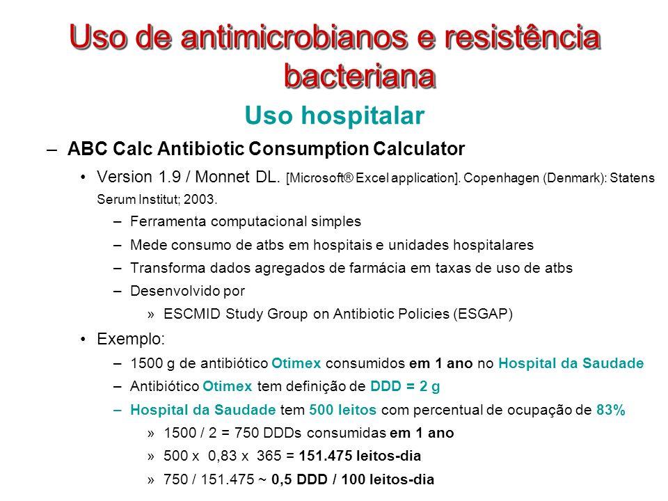 Uso hospitalar –ABC Calc Antibiotic Consumption Calculator Version 1.9 / Monnet DL. [Microsoft® Excel application]. Copenhagen (Denmark): Statens Seru