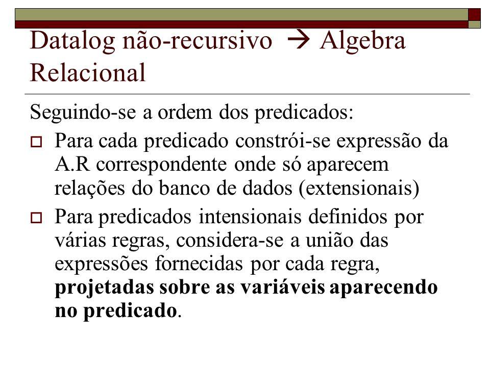 Datalog não-recursivo Algebra Relacional Seguindo-se a ordem dos predicados: Para cada predicado constrói-se expressão da A.R correspondente onde só a
