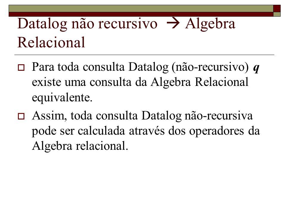 Datalog não recursivo Algebra Relacional Para toda consulta Datalog (não-recursivo) q existe uma consulta da Algebra Relacional equivalente. Assim, to