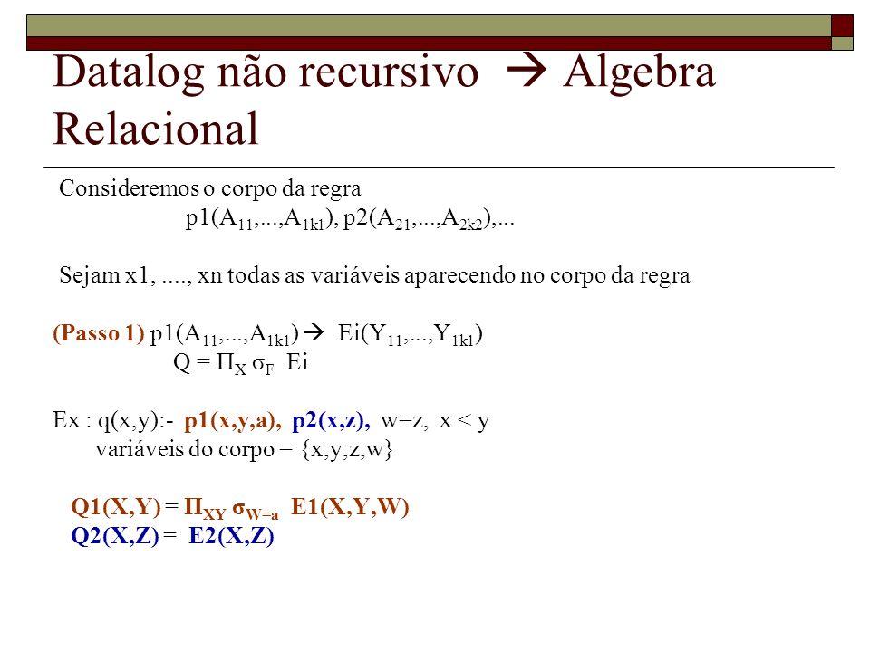 Datalog não recursivo Algebra Relacional Consideremos o corpo da regra p1(A 11,...,A 1k1 ), p2(A 21,...,A 2k2 ),... Sejam x1,...., xn todas as variáve