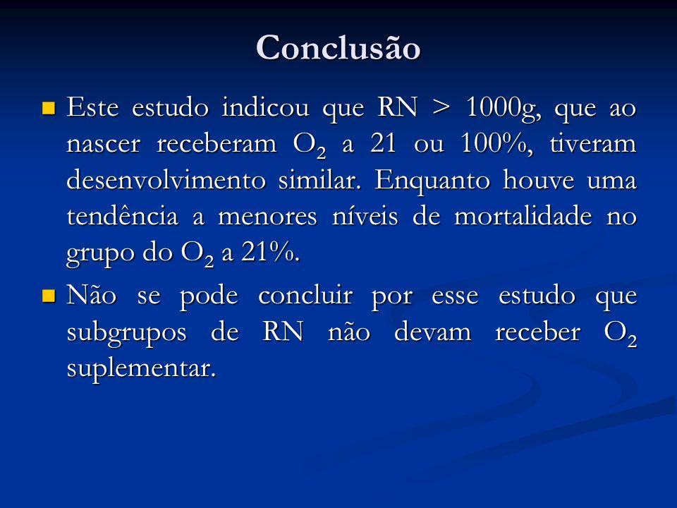 Conclusão Este estudo indicou que RN > 1000g, que ao nascer receberam O 2 a 21 ou 100%, tiveram desenvolvimento similar. Enquanto houve uma tendência