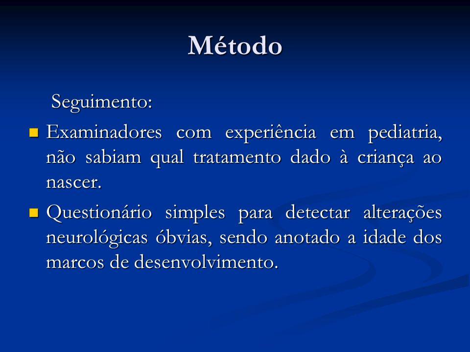 Método Seguimento: Seguimento: Examinadores com experiência em pediatria, não sabiam qual tratamento dado à criança ao nascer. Examinadores com experi