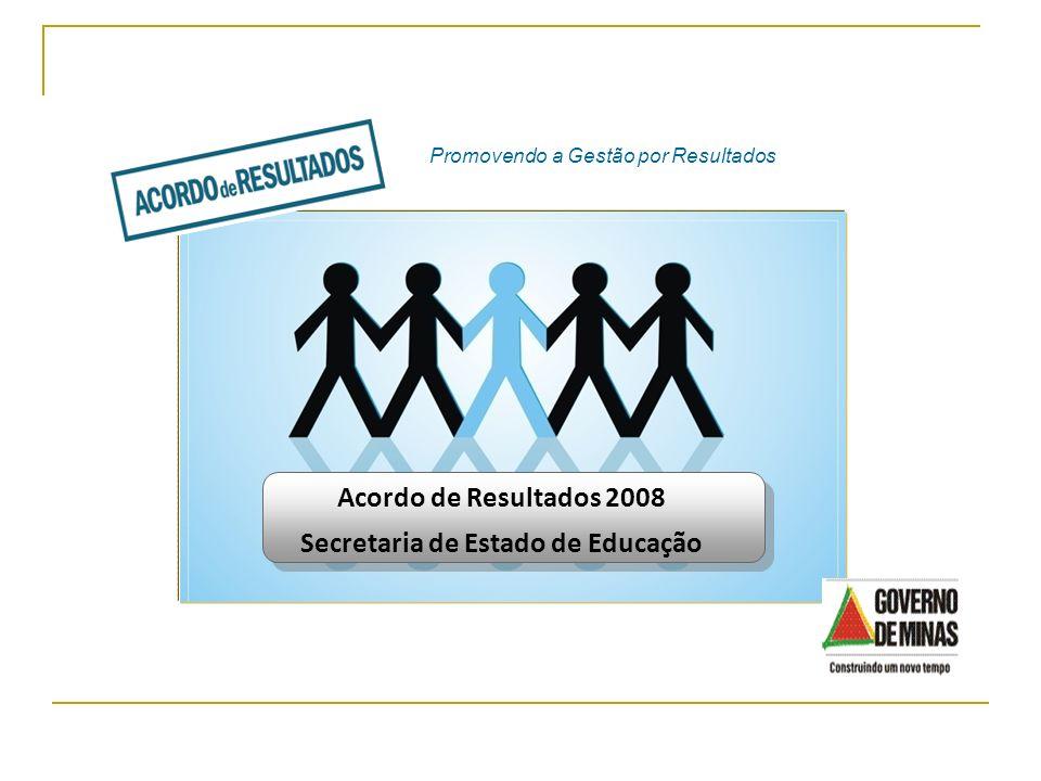 Acordo de Resultados 2008 Secretaria de Estado de Educação Promovendo a Gestão por Resultados