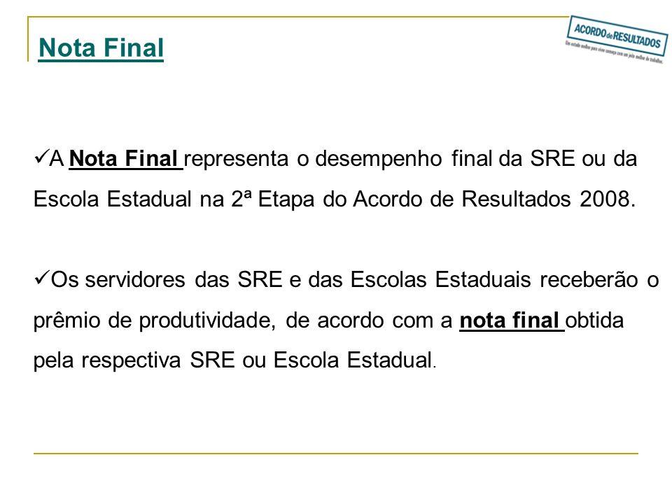 Nota Final A Nota Final representa o desempenho final da SRE ou da Escola Estadual na 2ª Etapa do Acordo de Resultados 2008. Os servidores das SRE e d